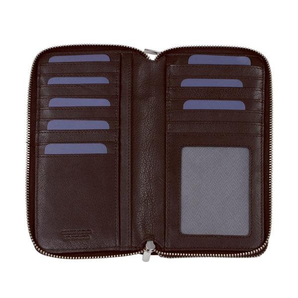 Braune Geldbörse von Brics für Damen, geöffnet