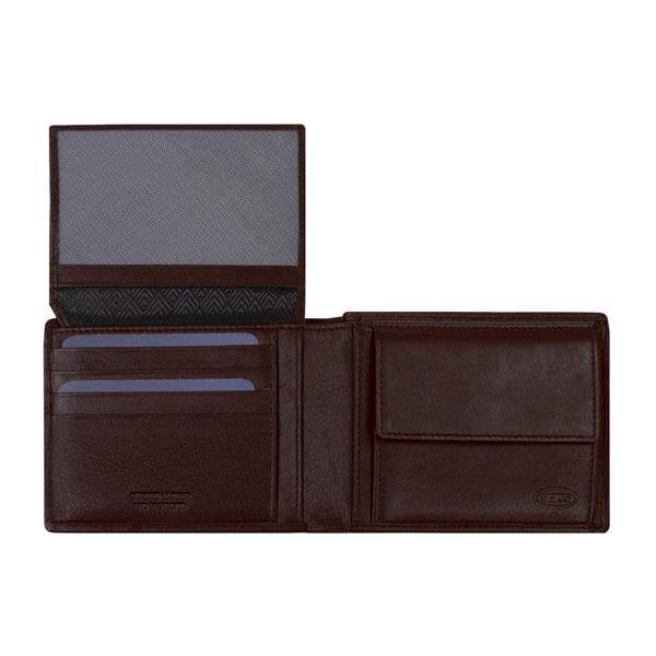 Braune Geldbörse von Brics, geöffnet