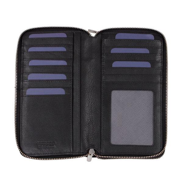 Schwarze Geldbörse von Brics für Damen, geöffnet