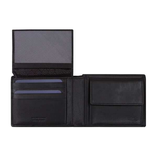 Schwarze Geldbörse von Brics, geöffnet